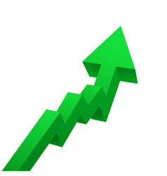 green arrow graph rises upwards isolated on white vector image