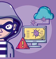 Hacker with symbols cartoons vector