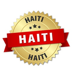 Haiti round golden badge with red ribbon vector