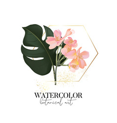 Hand drawn watercolor monstera palm leaves and vector