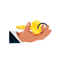 hand with key security isolated icon vector image