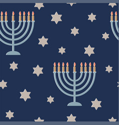 Hanukkah greeting card with lamp and a six-pointed vector