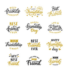 Happy friendship day cute lettering big set vector