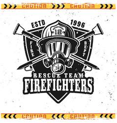 Head firefighter in gas mask emblem vector