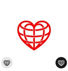 Heart earth globe shape linear weaved logo vector image