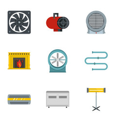 Heating con icon set flat style vector