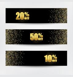horizontal gold banners set greeting card design vector image