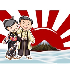 Japanese couple with moutain view background vector