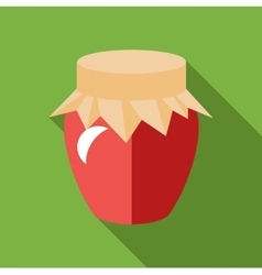 Jar of jam icon flat style vector