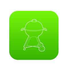 kettle barbecue icon green vector image