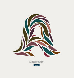 logo design from petals leaves abstract letter a vector image