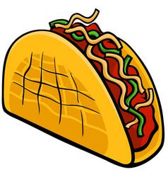Mexican taco food object cartoon vector