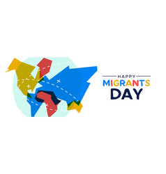Migrant day world map card for immigration concept vector