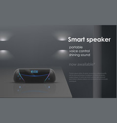 mockup with wireless portable smart speaker vector image