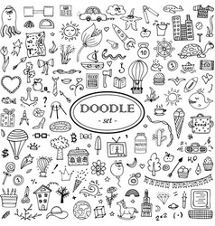 monochrome hand-drawn doodle set for design vector image
