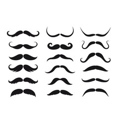 Mustaches style isolated black silhouettes vector