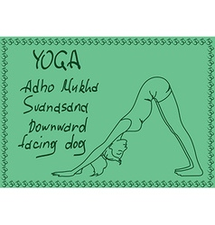 Outline girl in downward facing dog yoga pose vector