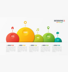 paper style bubble shaped timeline chart vector image