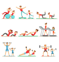 Parent and child doing sportive exercises and vector