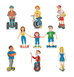people on electric transport hoverboard segway vector image