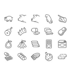 pork line icon set vector image