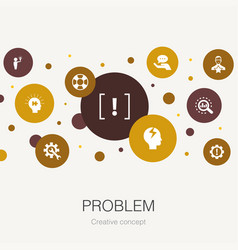problem trendy circle template with simple icons vector image