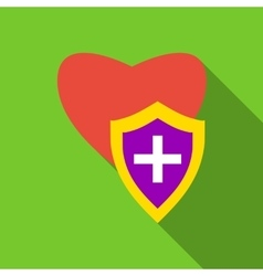 Protection heart icon flat style vector