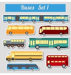 Public transportation buses Icon set vector image