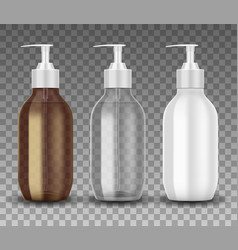 realistic glass and plastic bottle with dispenser vector image