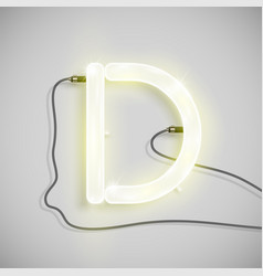 Realistic neon character from a typeset vector