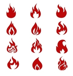 Red fire flames symbols icons set vector image