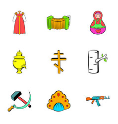 Russian emblem icons set cartoon style vector