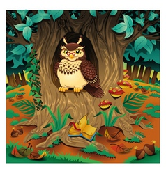 Scene with owl vector