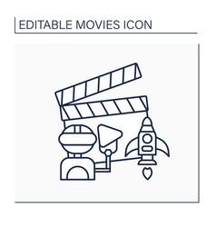 Sci-fi movie line icon vector