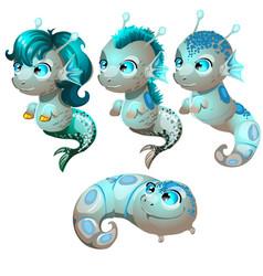Set fantasy cartoon seahorse isolated on a white vector