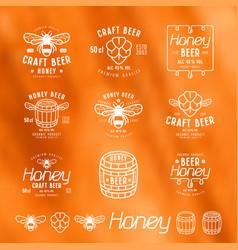 set honey beer labels badges and design vector image