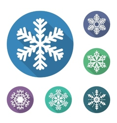 Set of flat snowflakes icons vector image