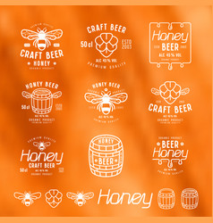 set of honey beer labels badges and design vector image