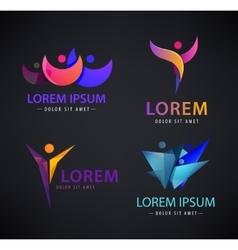 Set of man logo human leadership vector