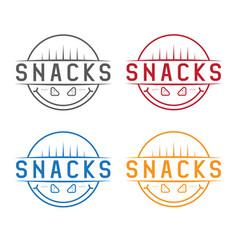 smiling snacks vintage labels set design template vector image