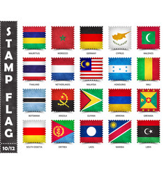 Stamp with official country flag set 10 12 vector