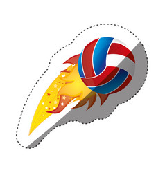 sticker colorful olympic flame with volleyball vector image