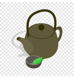 Teapot and cup of tea isometric icon vector