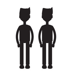 twins together silhouette vector image