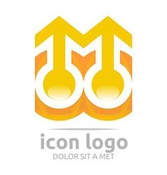 Two icon arrow orange design symbol abstract vector