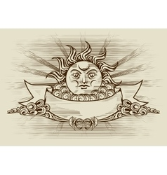 Vintage banner with face of the sun vector