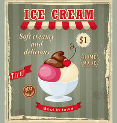 Vintage banner with scoop cherry ice cream vector