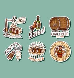 vintage beer stickers set alcoholic label vector image