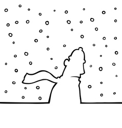 Walking through snowy weather vector