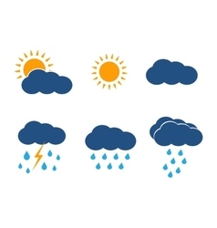 Weather icons set sun clouds rain vector